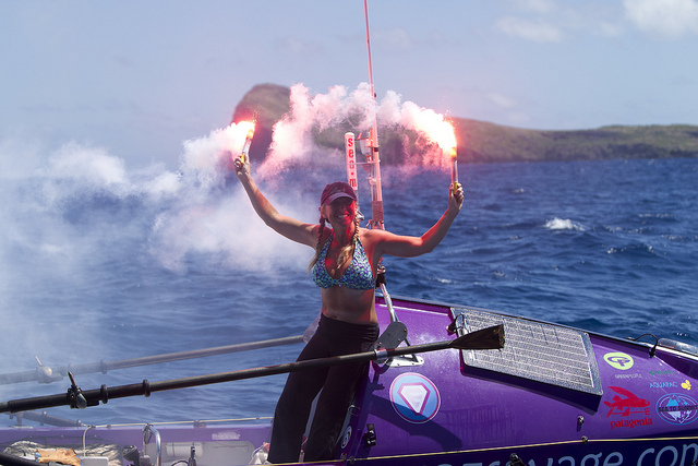 Roz Savage celebrating at end of journey