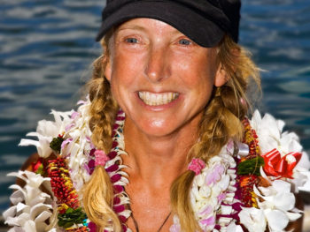 Roz Savage Celebrating at the dock in Honolulu/Photo: Phil Uhl-9/1/08: Guest on TWE Radio