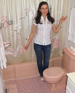 "<a href=""http://pjbtv.files.wordpress.com/2010/12/pinkbathroomsnancys-pink-poodle-bathroom.jpg""><img class=""aligncenter size-medium wp-image-5568"" title=""PinkBathroomsnancys-pink-poodle-bathroom"" src=""http://pjbtv.files.wordpress.com/2010/12/pinkbathroomsnancys-pink-poodle-bathroom.jpg?w=244"" alt=""Nancy's Pink Poodle Bathroom"" width=""244"" height=""300"" /></a>  Pink is back, even pink bathrooms, and they are more popular than ever.   An article by Kate Murphy in the <a href=""http://www.nytimes.com/2010/12/30/garden/30pink.html?_r=1&hp"">New York Times</a> features Nancy Burns from Fairfax , Virginia, above, who has pink poodle decorations on her shower curtain, a pink scale, and matching pink toilet and tub.  <a href=""http://pjbtv.files.wordpress.com/2010/12/mamieeisenhowerpinkmamie.jpg""><img class=""aligncenter size-full wp-image-5575"" title=""MamieEisenhowerpinkmamie"" src=""http://pjbtv.files.wordpress.com/2010/12/mamieeisenhowerpinkmamie.jpg"" alt=""Mamie Eisenhower in Pink"" width=""286"" height=""389"" /></a>  Mamie Eisenhower is said to have started the trend back in the fifties with her love of pink.  She decorated the White House with the color, so much so it became known as ""the Pink Palace.""  Since pink was her favorite, she wore a pink gown to her husband's inauguration.  It was decorated with 2,000 pink rhinestones of course.   Ike is said to have sent her pink flowers every morning.  You have to check out <a href=""http://savethepinkbathrooms.com/"">savethepinkbathrooms.com</a> by  Pam Kueber, the publisher of RetroRenovation.com.    It includes everything you ever wanted to know about the Save the Pink Bathroom movement and all those Pink Patriots who love it.  And you'll want to take the Pink Pledge.  <a href=""http://pjbtv.files.wordpress.com/2010/12/pinktypewriterptw1.jpg""><img class=""aligncenter size-medium wp-image-5577"" title=""OLYMPUS DIGITAL CAMERA"" src=""http://pjbtv.files.wordpress.com/2010/12/pinktypewriterptw1.jpg?w=300"" alt=""Pink Typewriter"" width=""300"" height=""226"" /></a>  My favorite pink item is a Royal Typewriter that I have stashed away which was a present from my dad when I turned 16.   Who can ever part with something as fabulous as this?  <code> </code>  ______________________________________ <a href=""http://pjbtv.files.wordpress.com/2010/12/megumiba-wrapping21_0502703069.jpg""><img class=""aligncenter size-medium wp-image-5358"" title=""Megumiba-wrapping21_0502703069"" src=""http://pjbtv.files.wordpress.com/2010/12/megumiba-wrapping21_0502703069.jpg?w=300"" alt=""Megumi Inouye, second best wrapper in world"" width=""300"" height=""200"" /></a> If you're in the need of gift wrapping ideas, turn to the <a href=""http://www.sfgate.com/cgi-bin/article.cgi?f=/c/a/2010/12/22/DD0E1GR73K.DTL"">San Francisco Chronicle</a> and a wonderful article by Steve Rubenstein on Megumi Inouye, the world's second-best wrapper, a title won at a contest in New York.  <a href=""http://pjbtv.files.wordpress.com/2010/12/megumidd-wrapping22_ph_05026877991.jpg""><img class=""alignleft size-medium wp-image-5360"" title=""Megumidd-wrapping22_ph_0502687799"" src=""http://pjbtv.files.wordpress.com/2010/12/megumidd-wrapping22_ph_05026877991.jpg?w=168"" alt=""Megumi Inouye wraps banjo for SF Chronicle"" width=""168"" height=""300"" /></a>  Not only does she do an incredible job wrapping, but she says in the article that she can wrap anything. To test her skills, the Chronicle gave her three unusual objects to wrap: a hacksaw, a jump rope and a banjo. Using found objects like the cardboard tube left over from toilet paper as wrapping paper is one of her trademarks.  Check out the <a href=""http://www.sfgate.com/cgi-bin/article.cgi?f=/c/a/2010/12/22/DD0E1GR73K.DTL"">Chronicle</a> for how Megumi wrapped the hacksaw and the jump rope. You'll see the banjo here. And below, an incredible wreath she made from those tubes. What a talent this woman has! Credit for the photos goes to Liz Hafalia and Russell Yip and kudos to the Chronicle for the article.  <a href=""http://pjbtv.files.wordpress.com/2010/12/megumiba-wrapping21_05027030611.jpg""><img class=""alignright size-medium wp-image-5364"" title=""Megumiba-wrapping21_0502703061"" src=""http://pjbtv.files.wordpress.com/2010/12/megumiba-wrapping21_05027030611.jpg?w=300"" alt=""Megumi Inouye and her homemade wreath of toilet paper rolls"" width=""300"" height=""200"" /></a>"" width=""244″ height=""300″ /></a></p> <p>Pink is back, even pink bathrooms, and they are more popular than ever. An article by Kate Murphy in the <a href="