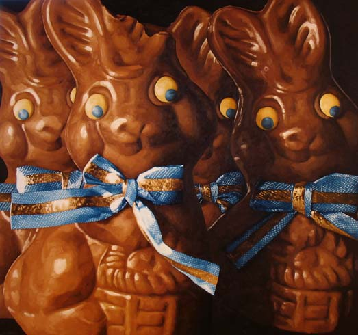 Chocolate Easter Bunnies painting by Pamela Johnson