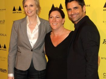 Jane Lynch, Abby Berman and John Stamos at Adopt The Arts launch
