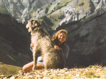 Pam Houston and Dante her wolfhound