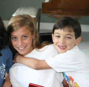 Talia Leman and her brother, 2005