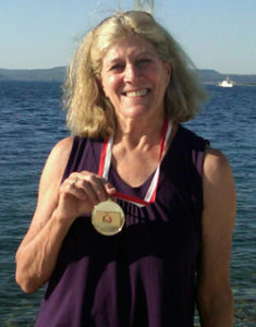 Lynn Sherr, ABC broadcaster, and swimming medal