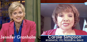 Jennifer Granholm interviews Carole Simpson via Skype on CurrentTV