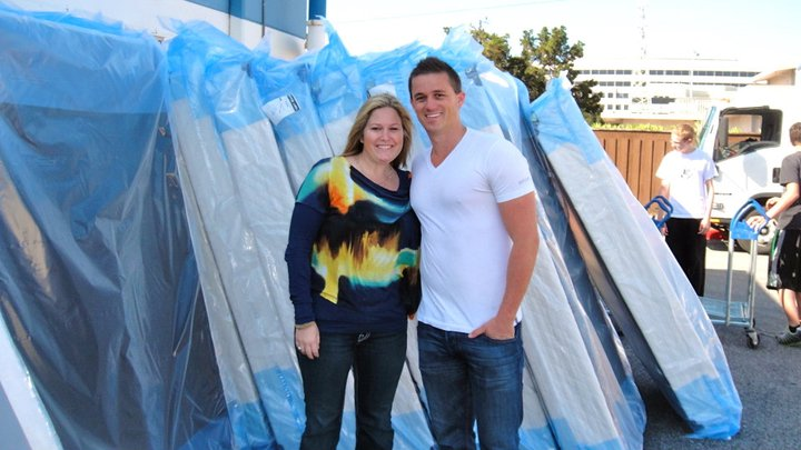 Jennifer and Josh Helland at SF Bed Drop with The Shelter Network