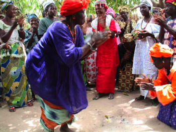 """Midwives in Senegal dancing with their granddaughters 