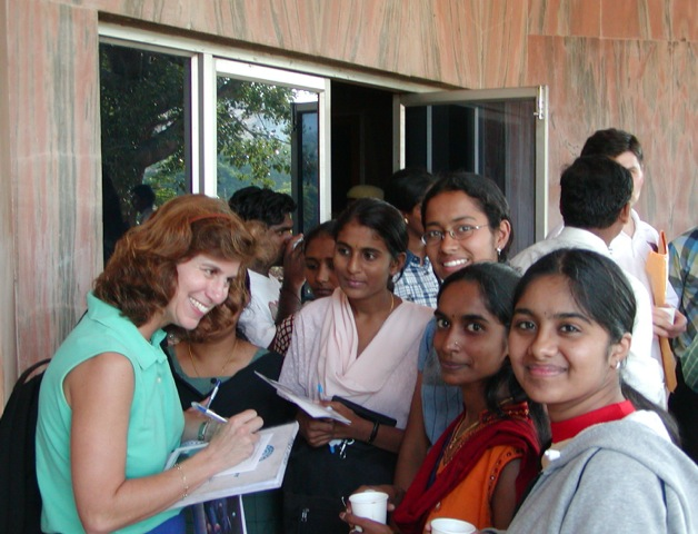 Ann  Micklos, NASA aeropspace engineer, lecturing at University of India
