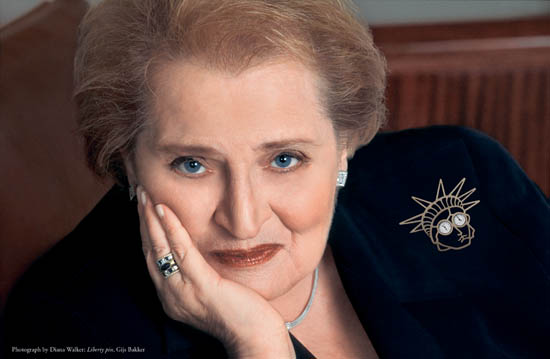 Madeleine Albright wearing her Liberty pin