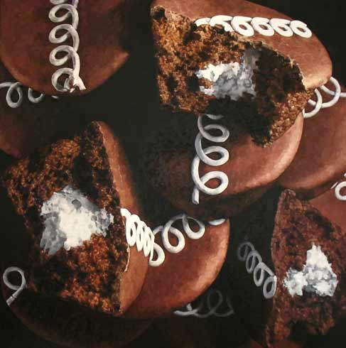 Mouth-watering oil painting of Hostess CupCakes by Pamela Johnson 2007