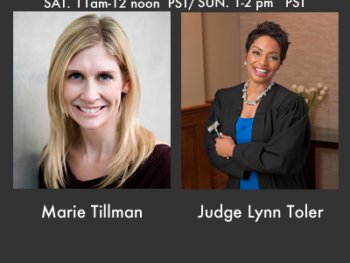 Marie Tillman of the Pat Tillman Foundation and Judge Lynn Toler, star of Divorce Court on TWE Radio Nov. 17,18 2012