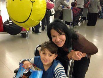 Elissa Montanti with Abed arriving from Turkey | Global Medical Relief Fund