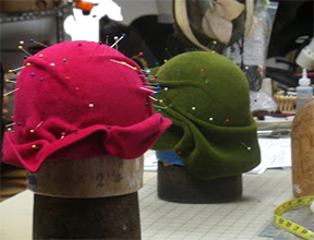 Hats in Progress at Jasmin Zorlu's studio, SF