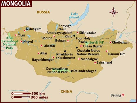Mongolia map from lonelyplanet.org
