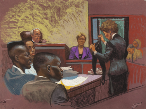 Courtroom rendering in Central Park Five documentary