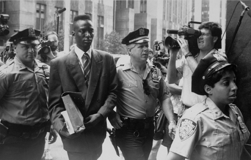 Accused rapist Yusef Salaam escorted by police in Central Park Five documentary