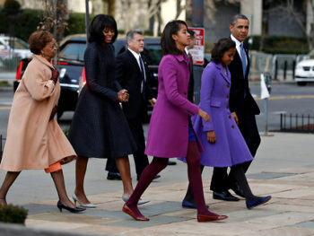 The Obama family on Inauguration Day/Luke Sharratt, NY Times