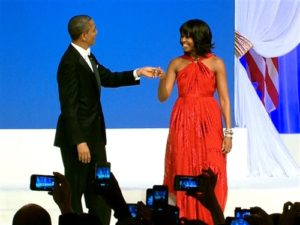 Michelle Obama at Inaugural Ball, 2013 with President Obama/NBC News