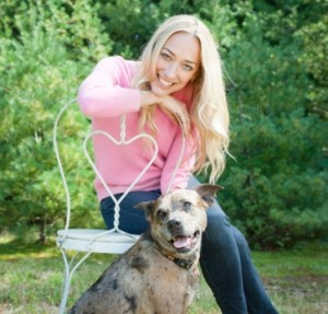 """Kris Carr, author of """"Crazy Sexy Kitchen"""" and her dog"""