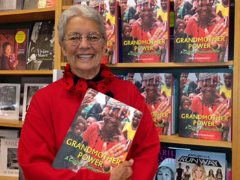 Paola Gianturco with her book, 'Grandmother Power, A Global Phenomenon' on Book Launch Day