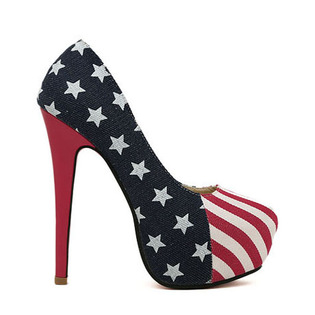 Fourth of July Party Pump American Flag Stiletto