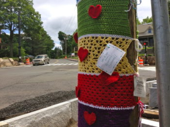 Newtown six months after the shootings--knitting remembrance