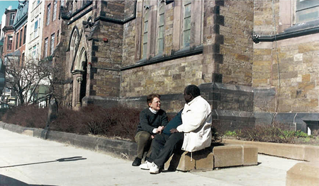 Dr. Roseanna meeting with a man during her Street Outreach