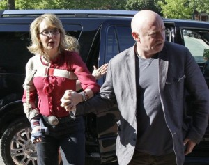 Gabby Giffords and husband Mark Kelly in New Hampshire 7/5/13/Photo: Mary Schwalm