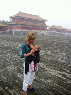 Patricia Sexton with daughter in Forbidden City, China