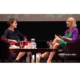 Kelly Corrigan (l) interviews Elizabeth Gilbert (r)