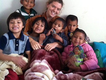 Maggie Doyne and her children at Kopila Valley Children's Home in Nepal