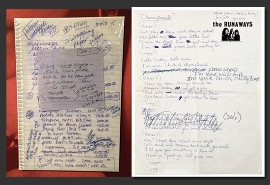 "(L) Madonna's Notes (R) Runaway's ""Cherry Bomb"" lyrics 1976 (Image Courtesy of Rock and Roll Hall of Fame and Museum)"