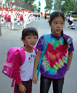Anya and Maya, first day of school, Beijing, 2004/Photo: Jenny Bowen