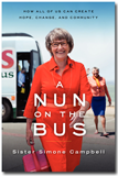 "Sister Simone Campbell on her book cover, ""A Nun on the Bus"""