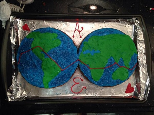 Cake made for Amelia Rose Earhart of her proposed flight by a friend/Twitter for Amelia Rose, Earhart