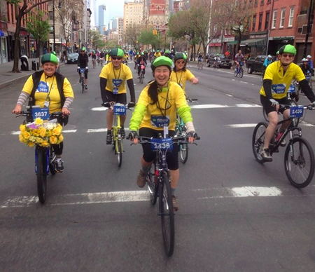 Patty Chang Anker riding with fellow Team Some Nerve members in the TD Five Boro Bike Tour