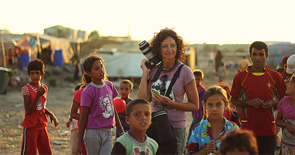 Mimo Khair in a Syrian Refugee Camp/Photo: Shouly Khair