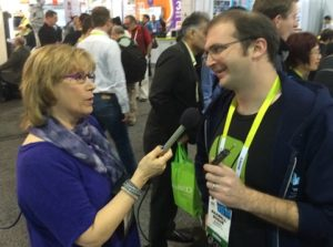 Andrea Smith interviewing on floor of CES 2015 (who/)