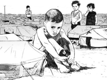Illust. of Refugee Suffering by Ruth Gwily/NY Times