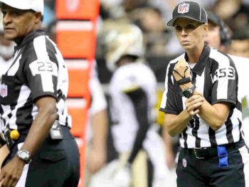 Sarah Thomas football official calls holding during preseason game, 2013/Photo: Michael Democker/The Times-Picayune/Landov