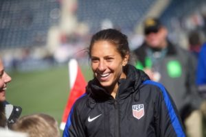Carli Llyd, after playing against Columbia in 4/16/PHoto: Mark Makela/The New York TImes