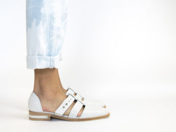 Freda Salvador Shoes, Lock T-Strap Flat/Photo: from Forbes/Pinterest