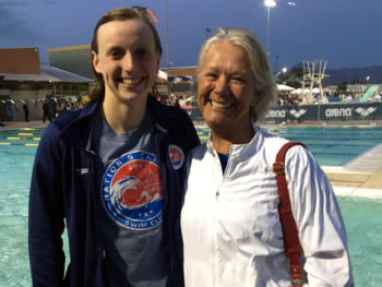 Katie Ledecky and Debbie Meyer at Arena Pro Swim Series, Mesa Ca/Photo: NYTimes