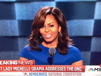 Michelle Obama speaking at DNC, 7-24-16/Photo: Screenshot MSNBC