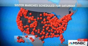 Map of Women's Marches/2015/Photo: Screenshot MSNBC