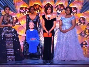 Hidden Figures Stars with Katherine Johnson Oscars '17/Photo: ABC Screenshot