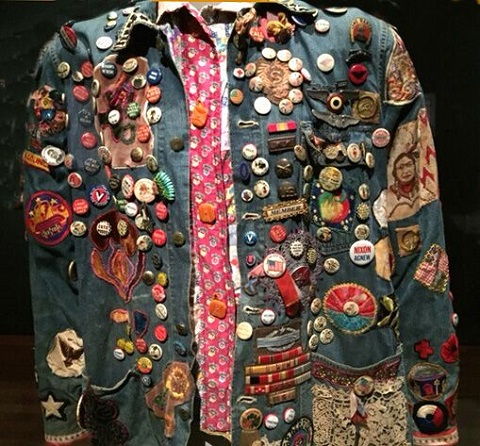 Men's shirt: 1970 cottton denim with p;lastic and metal buttons, patches appliqué and embroidered at deYoung Museum Summer of Love exhibit/Photo provided by Wendy Verlaine