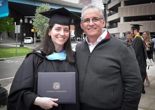 Melissa Salguero and her father George Salguero at 2015 graduation University of Bridgeport getting her M. A. Elementary Education diploma/Photo: George Salguero/Photo Courtesy Melissa Ssalguero
