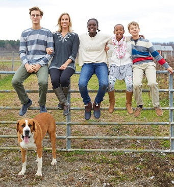 Marika on her farm with Jonas, Wini, Beck, Sophia and their dog