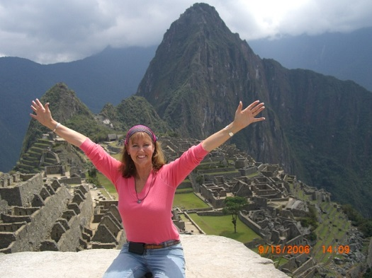 Nancy at Machu Picchu where she delivered supplies to the needy children and women/2006
